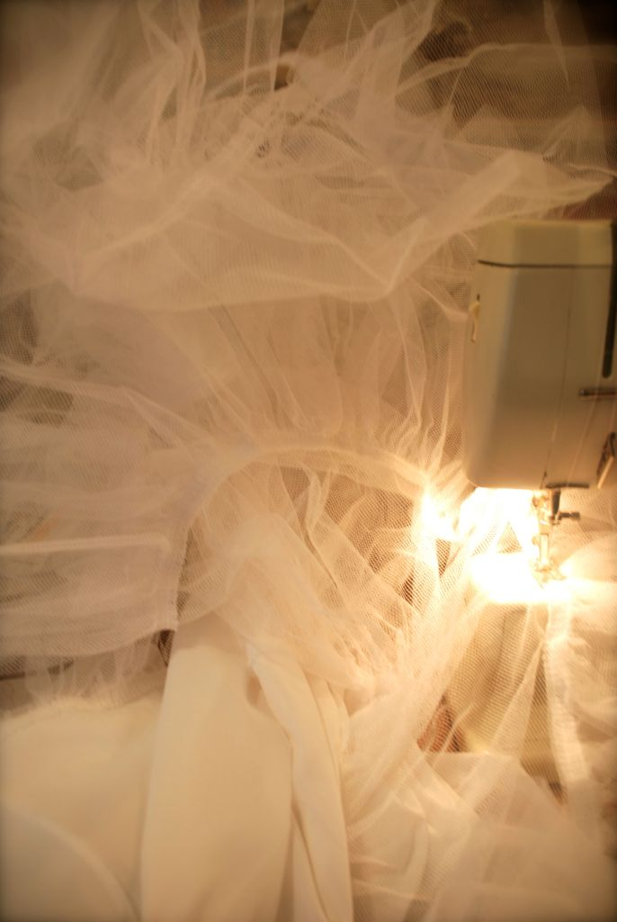 Me and my Bernina in a sea of tulle
