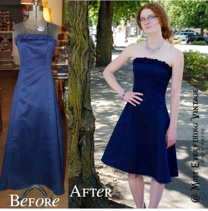 80's Midnight Blue Evening dress, waist 25 in. $42