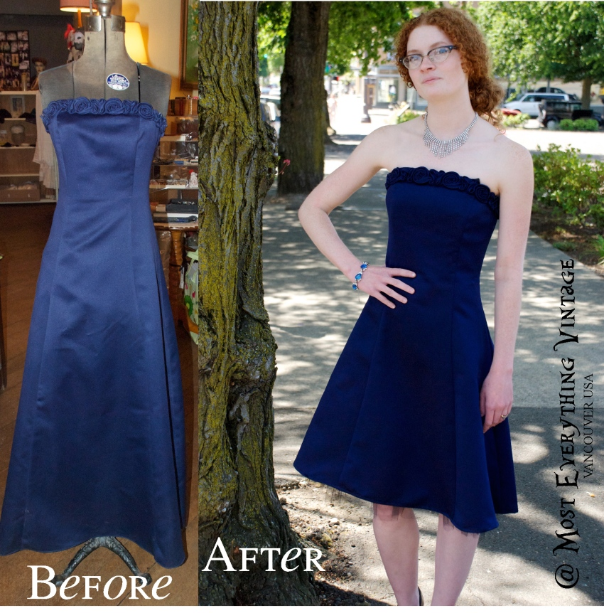 80's Midnight Blue Evening dress, waist 25 in. $42