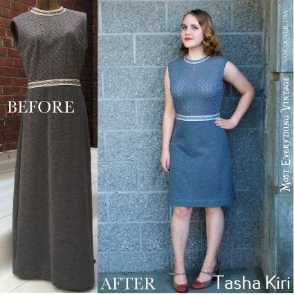 Grey 60's dress, waist 29 in. $42