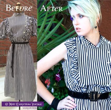 80's striped dress, size 8-12, $32