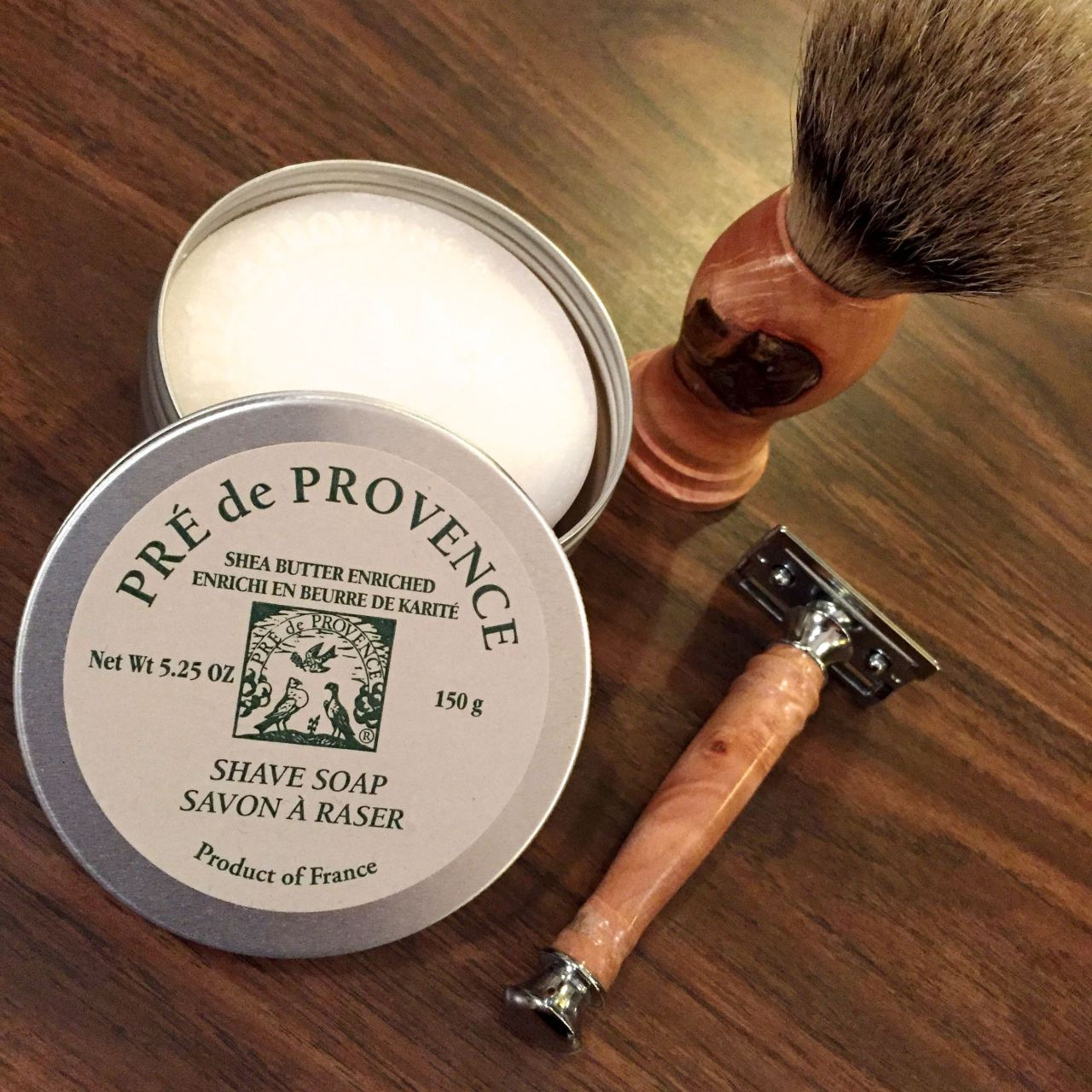 wooden razor and brush